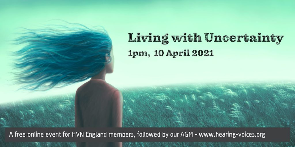 Living with Uncertainty - 1pm, 10 April 2021. Image of girl looking into the distance, with her hair blowing in the wind.