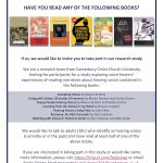 Research Request: Have you read any of the following books?